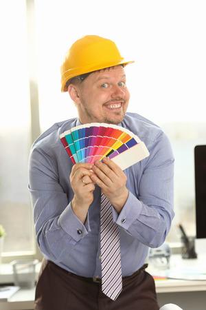 Interior Designer Hold Fanned Out Color Palette Stockfoto