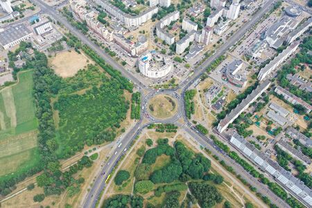 Foto de quadrocopter drone air urban Foto de archivo