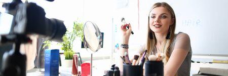 Beautiful Girl Recording Makeup Beauty Tips Vlog