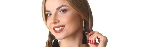Beautiful Cheerful Young Woman Studio Portrait