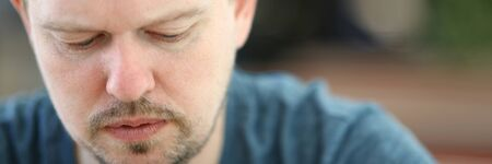 Sad and Overwhelmed Bearded Man Close-up Portrait
