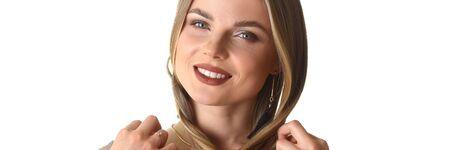 Beauty Fashion Closeup Portrait of Caucasian Woman