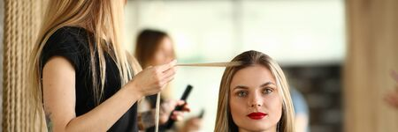Hairdresser Holding Long Hair Strand of Client 写真素材
