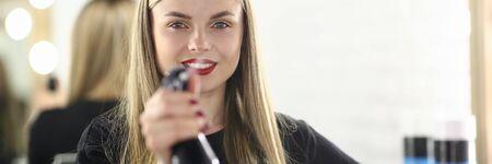 Girl Hairdresser Holding Water Sprayer Bottle 写真素材