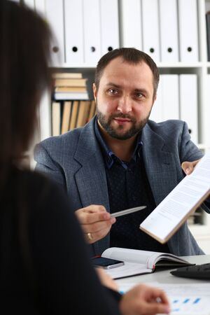 businessmen have a discussion woman give interview to manager would like to get new job future coworker concept