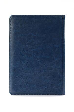 Blaues Tagebuch isoliert auf weißem Hintergrund. Konzept der kaufmännischen Bildung. Bürobedarf. Standard-Bild