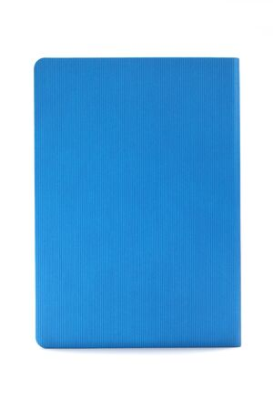 Blue diary isolated on white background. Business education concept. Office supplies.