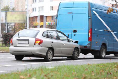 Car insurance concept. Two car damage on road city street Stock fotó