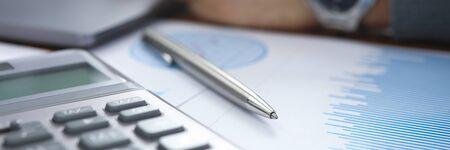 Business financial service revenue concept. Finance document with infographic analisys audit process Banco de Imagens
