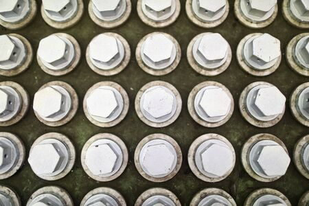 Pile of bolts in special box at industrial plant closeup 免版税图像