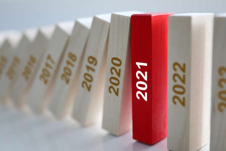 Wooden blocks listing years rested in red since 2021. Development and planning of small and medium-sized businesses and career concepts Stok Fotoğraf