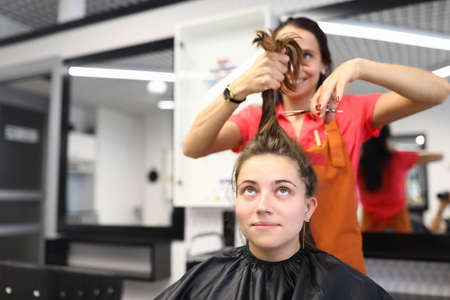 Woman make hair short. Client sit on chair in cape and watch hair cut. Cheerful hairdresser in apron hold bunch of hair for client and cut off with scissors. Do professional hair care and fashionable haircuts. Banco de Imagens