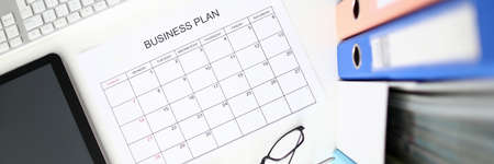 June month business calendar top view background. Business after quarantine covid 19 concept