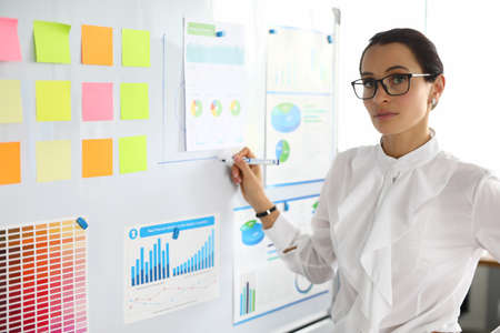 A woman in business clothes is standing by a white board with stickers. An employee stands in the office and points to the report Foto de archivo