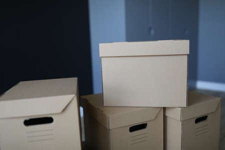 Cardboard boxes stand near the front door of the room. Arrange a move to a new office. Furniture and items packaging