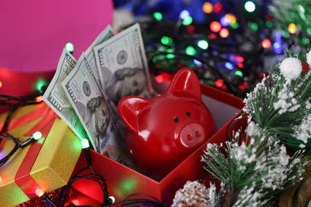 In New Years box a red pig has dollars next to garland and Christmas tree. New Year and Christmas sales concept