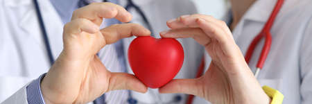 Doctors man and woman with phonendoscope hold red heart in their hand. Diseases of the cardiovascular system concept.