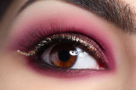Closeup of womans eye with beautiful makeup. Professional makeup concept Foto de archivo