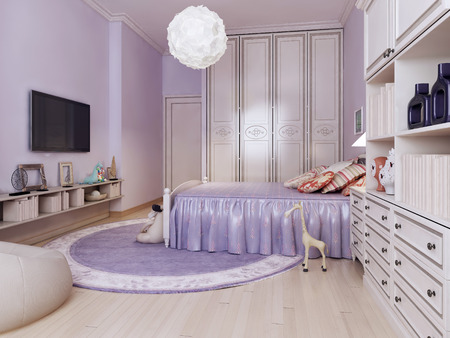 art design: Idea of bright bedroom for girls. Inspiration for a beautiful contemporary girls bedroom kids with purple walls and medium tone hardwood floors. 3D render