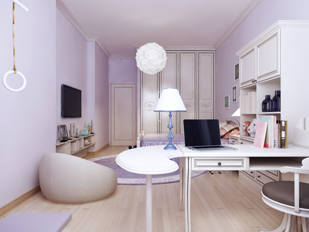 working area: Idea of provence bedroom with working area. Bright solution to connect the living and working areas. The walls are made in light purple tone. High wardrobe visually make the room higher. 3d render Stock Photo