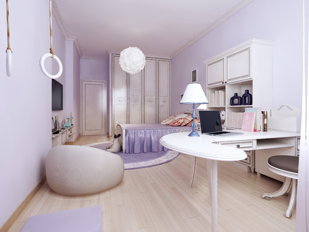 work area: Art nouveau bedroom with work area. Spacious room with a wardrobe. A properly organized workplace. The cozy feel. Stock Photo