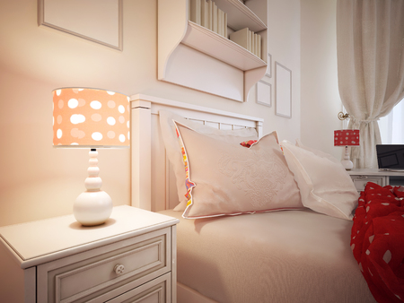 flaxen: Pillows on a bed of hotel room. Upholstered bed with pillows and a red blanket. Classic table lamp with shade. 3D render