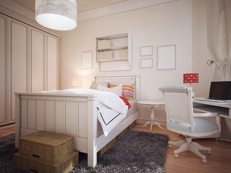 wall light: Bedroom in mediterranean design. The bright bedroom with a huge wardrobe and a work area. There is a gray wool carpet and mysterious wicker box for storage on the floor. 3D render Stock Photo