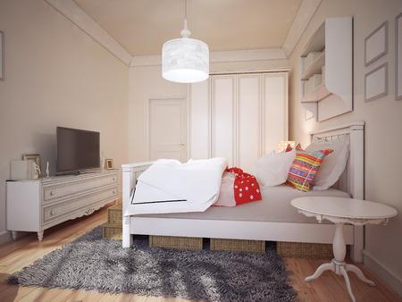 bedchamber: Design of art deco bedchamber. 3d render