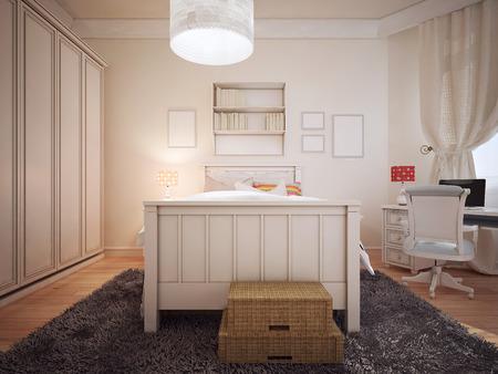 bedchamber: Bright bedchamber art deco style. 3D render