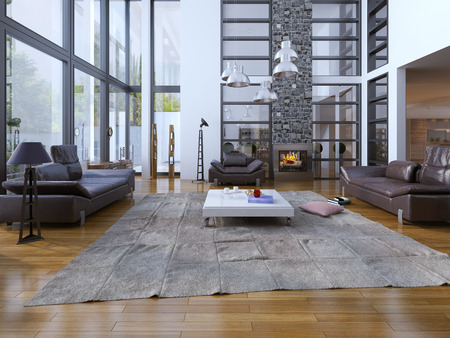 tea lamp: Living room loft style. Panoramic two-story windows and white walls are perfectly combined. Lether sofa with floor lamp, white low table for tea. multi-level architecture of the living room.  Cozy fireplace with grey colored stone chimney. 3D render