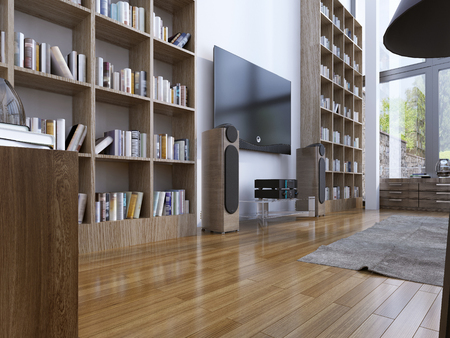 Home library in modern style. 3D render Stock Photo