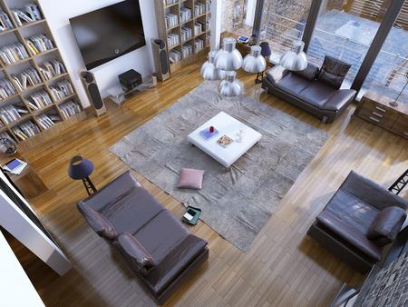 Design Der Modernen Wohnzimmer Mit Heim Bibliothek Und Weiß Niedrigen Tisch  In Der Mitte. 3D