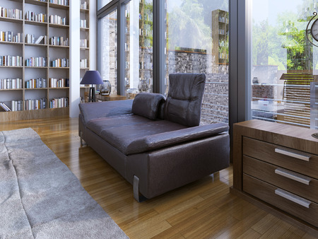 view of a spacious living room: A modern lether sofa and lamp on wooden floor. Home library design in a modern house with panoramic windows. 3D render