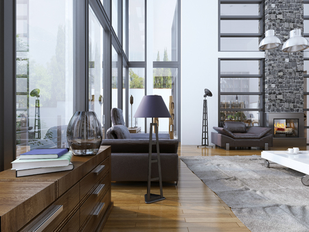 contemporary living room: Idea of living room with panoramic windows. High-ceiling living room for rest with fireplace. White low table with grey carpet at the floor and lether furniture perfectly combined. 3D render Stock Photo