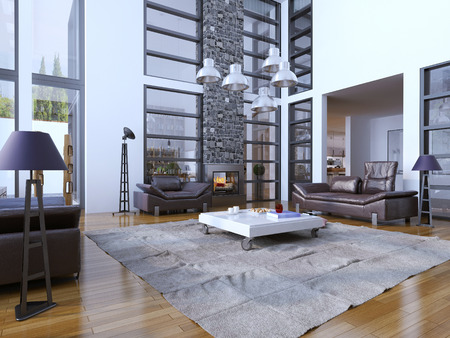 view of a spacious living room: Multi-level living room trend. 3D render