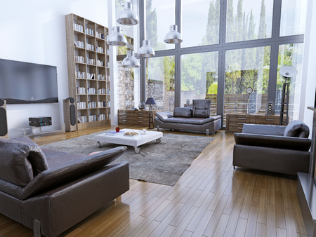 view of a spacious living room: High ceiling living room with panoramic windows. 3D render
