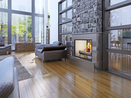 stone fireplace: Idea of avant-garde living room with fireplace. 3D render Stock Photo