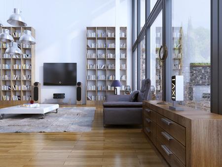 Woonkamer moderne stijl. Eigentijdse woonkamer met design meubels, en de vloer tot het plafond panoramische ramen. 3D render Stockfoto