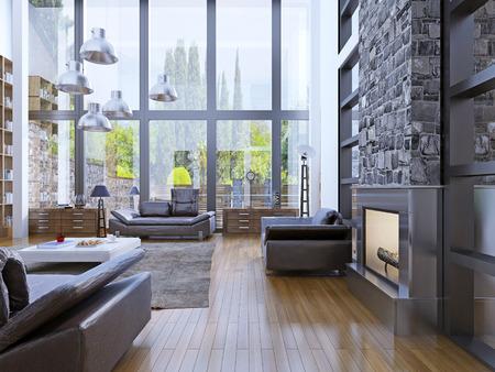 パノラマ ビューの窓、ロフト アパートのインテリア デザイン。グレー吊りランプ上部白い低いテーブルとリビング ルーム。3 D のレンダリング