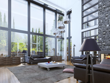leather sofa: Two-storey modern living room with panoramic windows. Unity with nature interior. Bright design of living room with white walls and fireplace for young people. 3D render