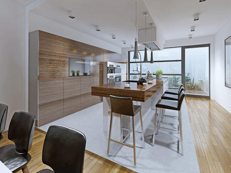 dining table and chairs: Kitchen high-tech style. Kitchen with breakfast bar embedded on the island. Bright and spacious interior for those who like everything new. 3D render