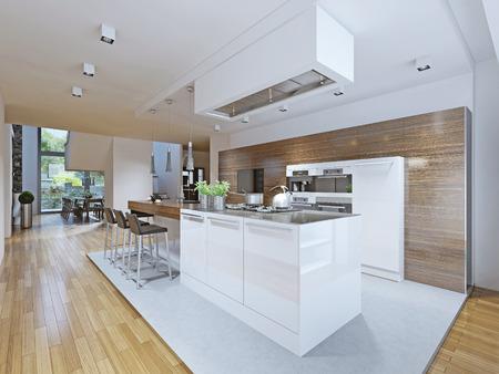 cucina moderna: Luminosa cucina in stile avant-garde. Mobili da cucina e bar piano con struttura di legno ed elettrodomestici da cucina scuri fatti in bianco. Da questo punto di vista si può vedere la sala da pranzo e le scale fino al secondo piano. La cucina è separata dal resto da me Archivio Fotografico