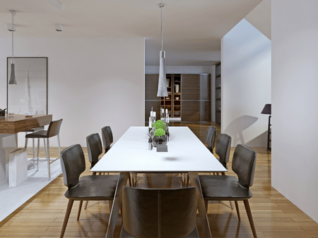 modern dining room: Contemporary style dining room. 3D render Stock Photo