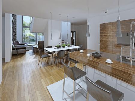 ダイニング エリア付きのキッチン。結合されたダイニング ルーム キッチン付け。白と茶色のコントラスト。テーブル 8 人とバー.3 D のレンダリング 写真素材