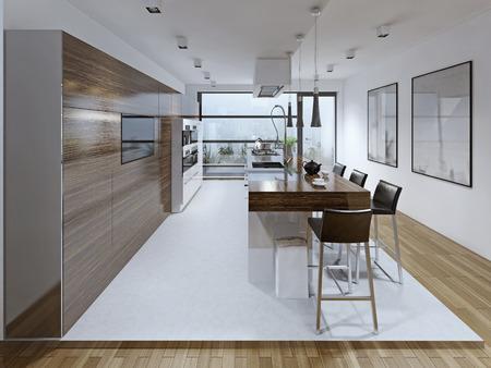 spacious: Spacious kitchen trend. 3D render Stock Photo