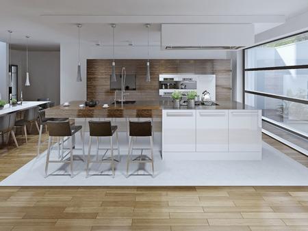 hormig�n: Vista interior de lujo de la cocina y el comedor. 3D render Foto de archivo