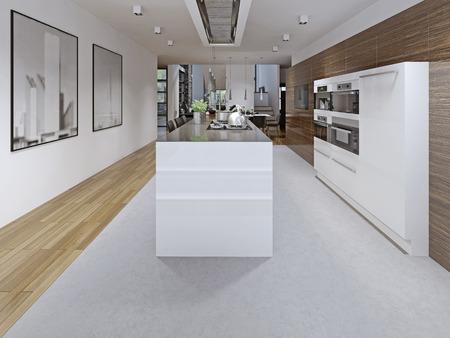 discreet: Contemporary kitchen design. Kitchen planning tricks. Modern kitchen with white furniture and discreet hood. Open kitchen design. 3D render Stock Photo