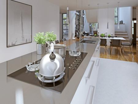 gas stove: Idea of loft kitchen-dining room