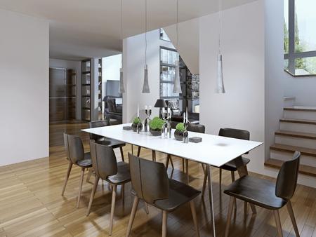 familia cenando: Idea de comedor moderno. 3D render Foto de archivo