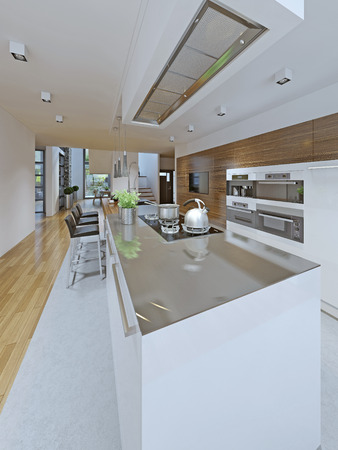 perimeter: Idea of avant-garde kitchen. Popular trend in kitchen design in which the islands cabinets color contrasts the perimeter cabinets. In this kitchen the island is painted a contrasting white, adding interest to the space. 3D render